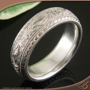 SILVER ENGRAVED BAND - Greenlake Jewelers