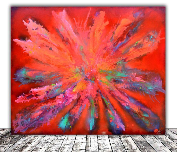 Buy Colourful Large Abstract Painting Red Pandora Xl Ready To Hang Hotel And Restaurant Wall Deco Modern Wall Art Canvas Canvas Art Wall Decor Large Abstract