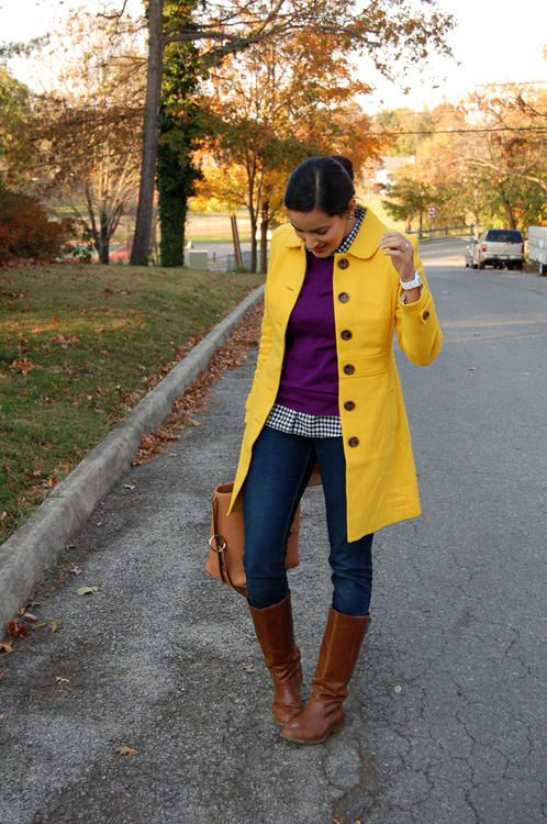 bright jacket / gingham layers / boots