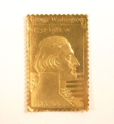 Vintage George Washington President'S Gold Tn Paper Postage Stamp*1732-1982*Y931