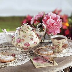 Your own personal rosebud chintz, fit for a princess. Your morning or afternoon tea time will be a bit more special as you and your favorite blend and pastry sit down to a proper setting. Porcelain.