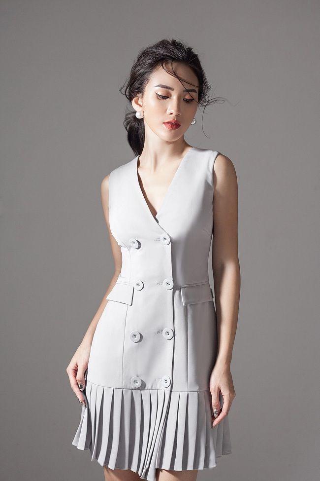1cc3c5c68b Moda De La Fiesta. Đầm xòe chữ a xếp ly có túi dễ thương Vestidos Cortos  Elegantes