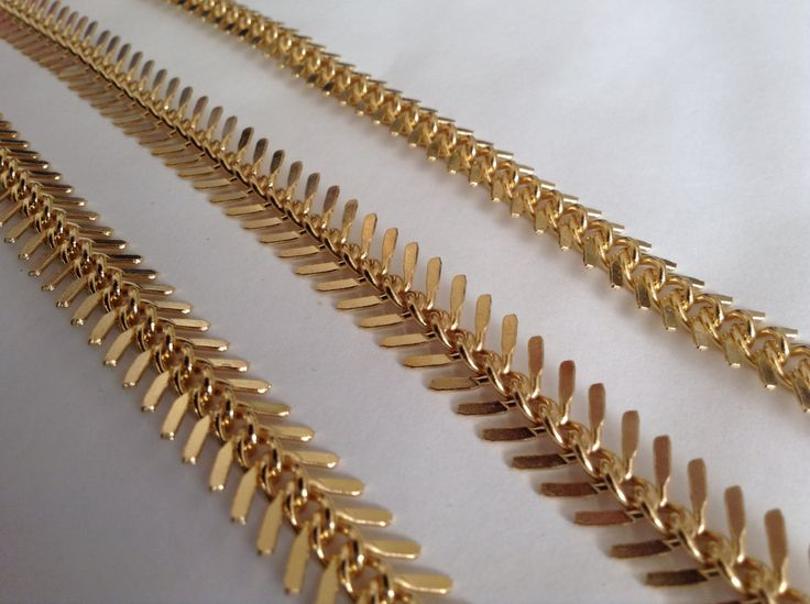 New to GoldieSupplies on Etsy: 0.5 M Fish Bone Chain 11mm Industrial Gold Chain supplies Fine chains for jewelry making necklaces bracelets Findings Goldie Supplies (16.49 USD)