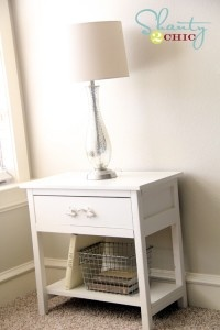 DIY night stand (love the wire basket, too!)