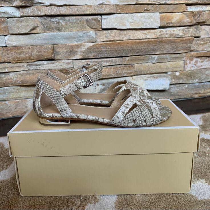Michael Kors Shoes | Nib  Michael Kors  Snake Print Sandal | Color: Gray/Silver …
