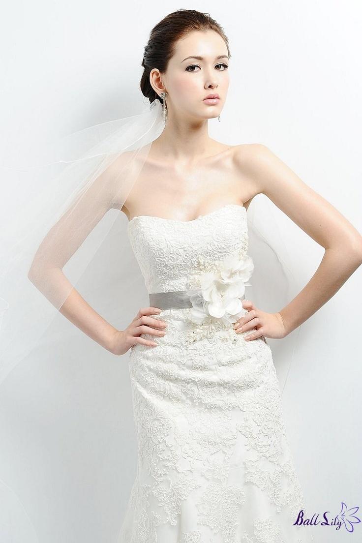 A-line Strapless Lace Beaded Flowers Sash  Spring Fashion Wedding Dresses BDSW0094$329 wwww.balllily.com