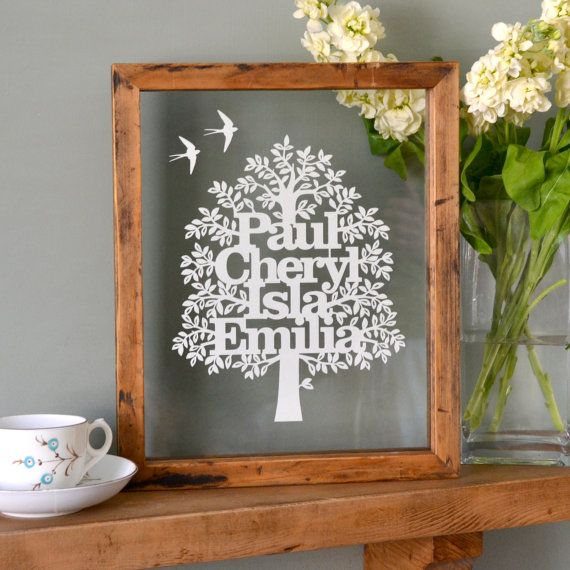 A stunning typographical papercut family tree that makes a unique gift to be treasured forever. Personalised family tree papercuts make