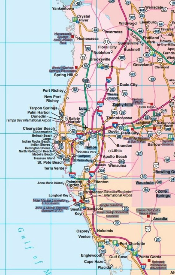 Central West Florida Road Map Showing Main Towns Cities And - Florida coastal cities map