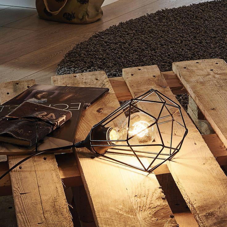 Lampe baladeuse en fil de métal noir diamètre 17.5cm Tarbes