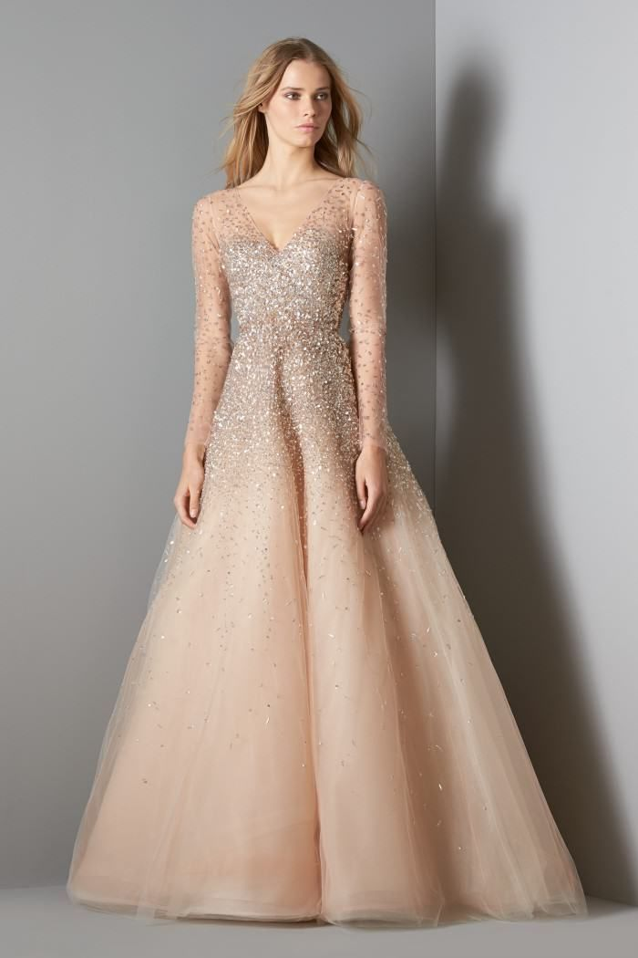 Sequined Illusion Tulle Ball Gown, Champagne by Carolina Herrera