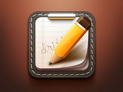 My favorite aspect of this icon is the pensil. I am starting to notice a theme with the icons that I would describe as cartoonish-realistic. You will notice that the pensil has a somewhat realistic look to it by highlights and shadows, but its proportions are cartoonist and exaggerated to fit the space. This seems to be a common look for these icons.