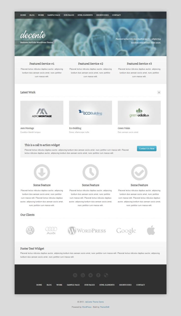 """Decente"" Show off your work with this #free responsive #business, portfolio #Wordpress theme."