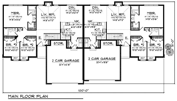 Traditional multi family plan 73480 Duplex floor plans with garage
