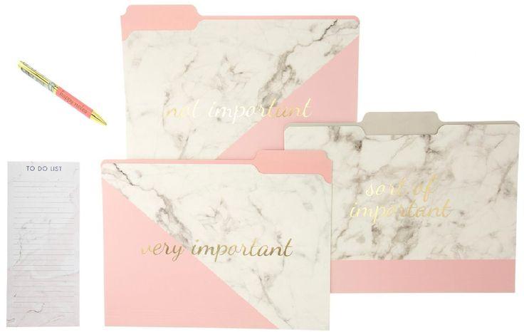 Pink Marble File Folder Set, Fashion Pen, and Magnetic Notepad Gift Set