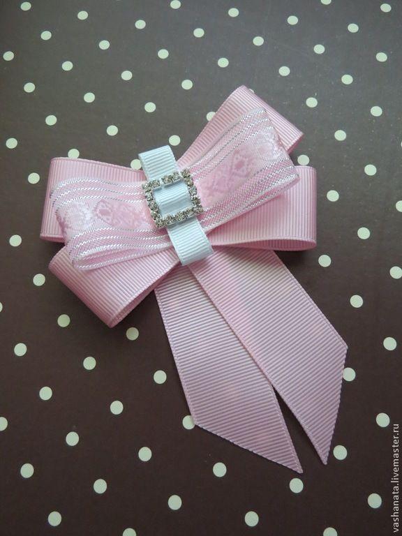 """Брошь """"Розовый бант"""" - розовый,украшения ручной работы,украшение на шею"""
