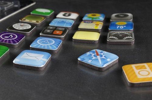 iPhone app icon fridge magnets