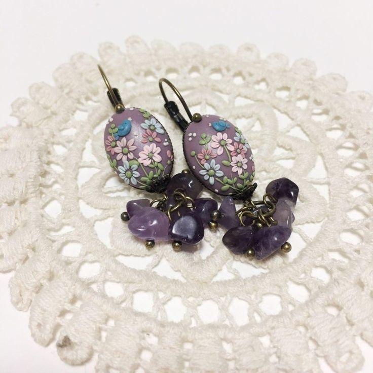 [폴리머 클레이 귀걸이] 자수정 비즈와 폴리머 클레이 자수 귀걸이 : 네이버 블로그  Polymer clay embroidery technique Polymer clay earrings with amethyst  Purple quartz