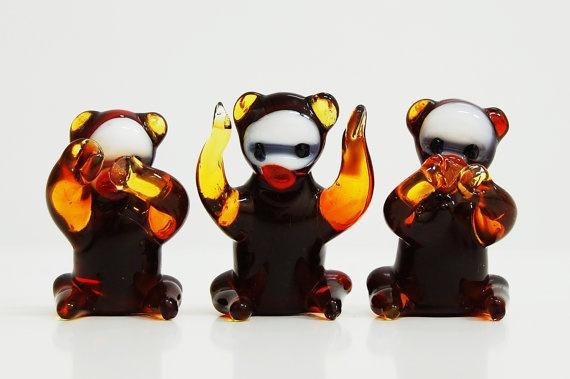 Monkey Set Glass Handmade Sculpture by TheGrandBazaar on Etsy, $50.00