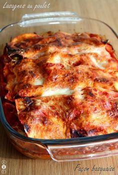 Lasagnes au poulet façon basquaise