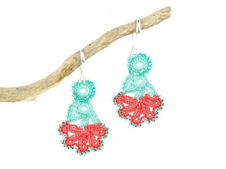 Excited to share the latest addition to my #etsy shop: Crochet Earrings- Handmade Mint Peach Floral Beaded Crochet Dangle Lace Earrings, Ethnic Earrings, Unique Oya Earrings, Bohemian Jewelry #jewelry #earrings #floral #pink #artnouveau #handmadeearrings #valentinesday https://etsy.me/2IsiVOv