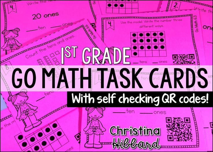 Go Math 1st Grade Task Cards with QR codes for student self correction.