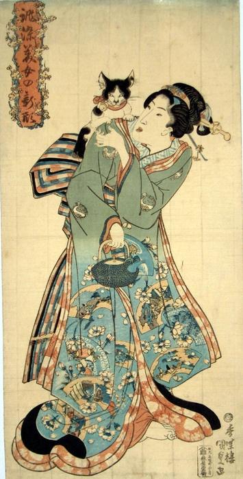 """Dat's my sweet widdle kitteh...""  Utagawa KunisadaWood Block, Japanese Bobtail, Japan Bobtail, Japanese Art, Kitty Cat, Japan Cat Image, Bobtail Cat, Japan Art, Woodblock Print"