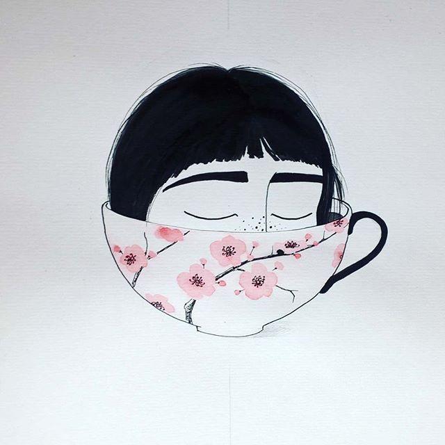 She's my cup of tea  #illustration #watercolor #teacup #mycupoftea #alexandraradu #alradu