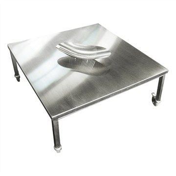 Tech Stainless Steel 90cm Square Outdoor Coffee Table with Castors