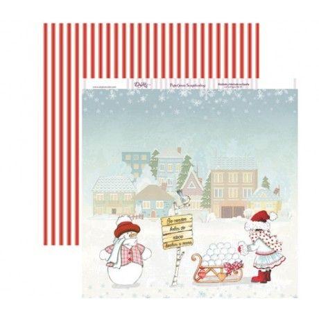 Papel scrap con una imagen navideña y muñeco de nieve; rayas rojas y blancas por el revés #scrap #navidad #conideade #manualidades