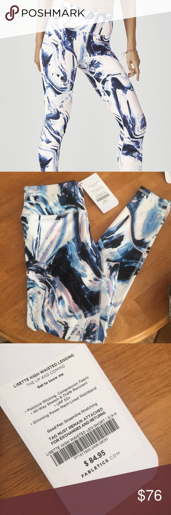 Fabletics Lisette High Waisted Legging Excellent condition never worn with tags! Just not the right size!   Color: frosted marble  Size: S/4-6 leg-short   Moisture wicking, compression fabric  Stretch and chafe resistant UPF 50+  Slimming power mesh-lined waistband Fabletics Pants Ankle & Cropped