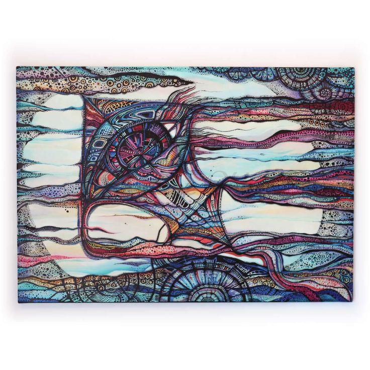 Latawcem po niebie | Akryl na płótnie | 70 x 100 x 2 cm
