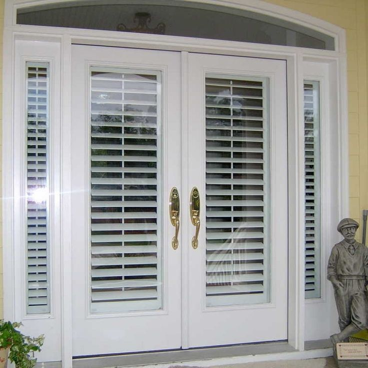 Exterior Double Doors With Blinds Front Doors With