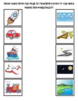 transportation matching worksheet lesson plans transportation activities matching. Black Bedroom Furniture Sets. Home Design Ideas
