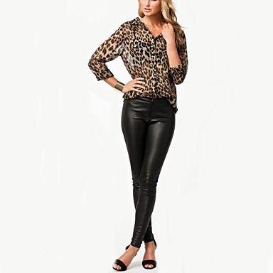 vrouwen luipaard print chiffon overhemd – EUR € 9.99