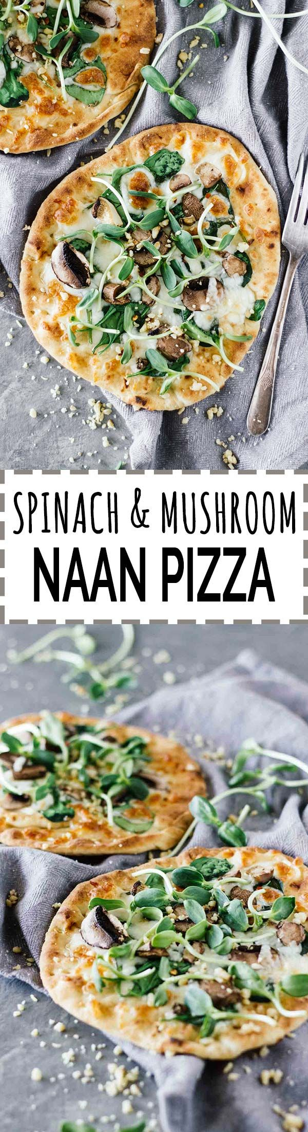 Spinach & Mushroom Naan Pizza! Vegetarian and super easy to make. Perfect for a quick and healthy weeknight dinner!