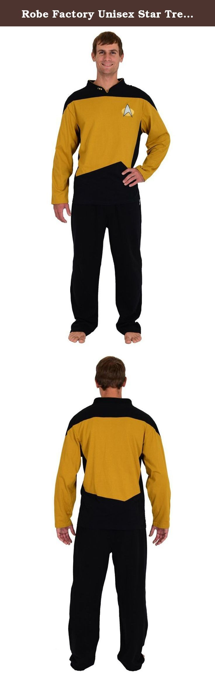 Robe Factory Unisex Star Trek NG Gold Operations Uniform Pajamas Set, Gold, S. Officially licensed CBS Star Trek: the original series apparel. Set comes with: cotton shirt printed with Starfleet insignia, rank on collar and cotton pants with Star Trek logo, button fly, drawstring. Material: Cotton.