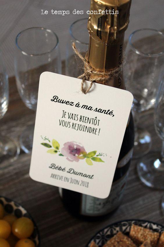 Etiquette bouteille annonce de grossesse originale personnalisée avec votre nom de famille ou prénoms dessin aquarelle fleurs annonce de la boutique Letempsdesconfettis sur Etsy