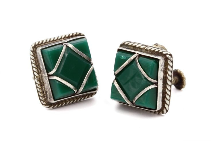 Excited to share the latest addition to my #etsy shop: Square Green Onyx Earrings, Southwestern Jewelry, Antique 40s Earrings, Mexican Jewelry, Pre Eagle Screw Back Earrings, 925 Sterling Silver http://etsy.me/2Byw8GO #jewelry #earrings #silver #artdeco #aztec #onyx