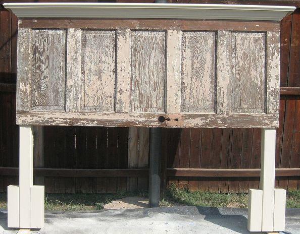 90 Jahre alte Tür In einen Kopfteil, Schlafzimmer Ideen, Türen, bemalte Möbel, gemacht schäbiges chic, Entwickelt, um sowohl Ein Kingsize Und ein Queensize-Bett passen