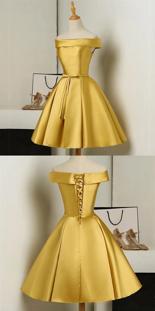 Gold Short Party Dress, Simple Off Shoulder Homecoming Dress 1198 1