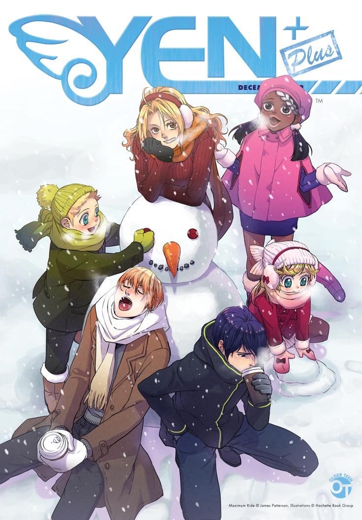 Cover of Yen Plus Magazine, featuring the Flock from Maximum Ride.