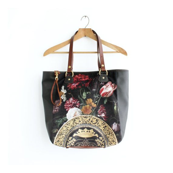 between bohemian and gothic there is a lovely romantic floral but still dramatic and headturning realm... this tote bag is a great example. Brown Leather and Digitally Printed Velvet by iheartnorwegianwood