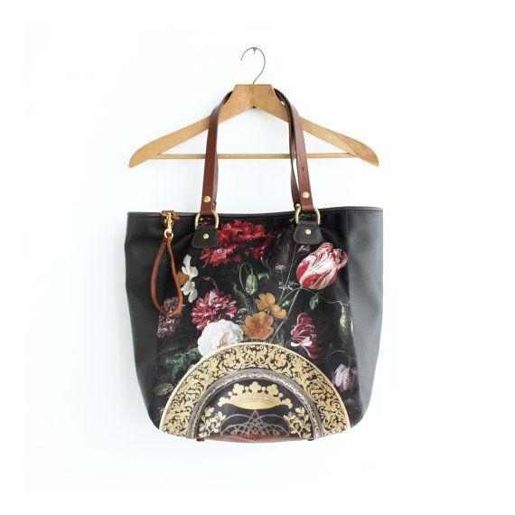 Brown Leather and Digitally Printed Velvet par iheartnorwegianwood