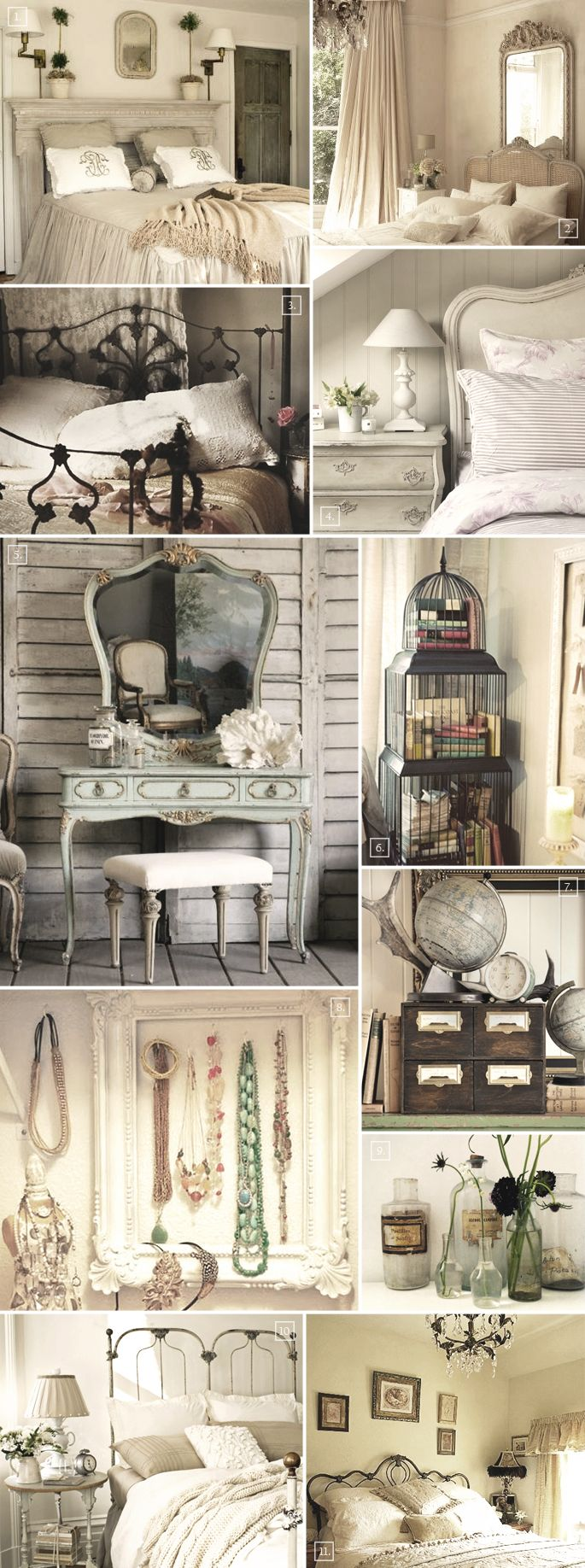 Vintage Bedroom Decor Accessories and Ideas | Home Tree Atlas. Usually I like wood, stone, and rich, rustic designs, but this vintage look is really cool.