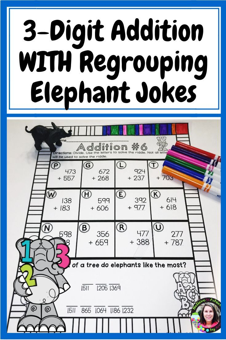 3 Digit Addition With Regrouping Worksheets Elephant Jokes Digital And Print Math Activities Math Stations Teaching Math