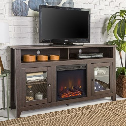 Walker Edison Highboy Wood Fireplace Tv Stand