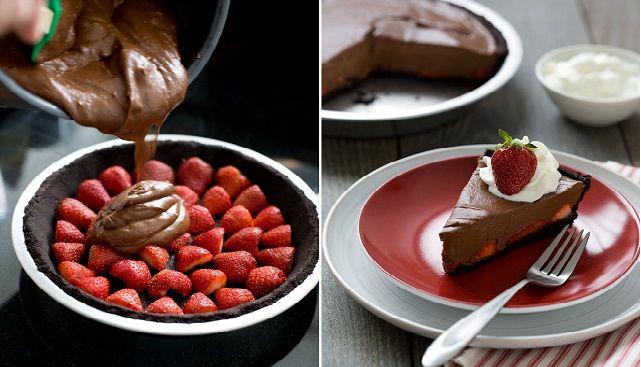 No Bake Chocolate Strawberry Pie | Our Daily Ideas