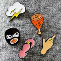 Cute Cartoon Slippers Lightning Robber Chicken Leg Brooch Charm costume Pins Fashion Jewelry Best Friends Gift