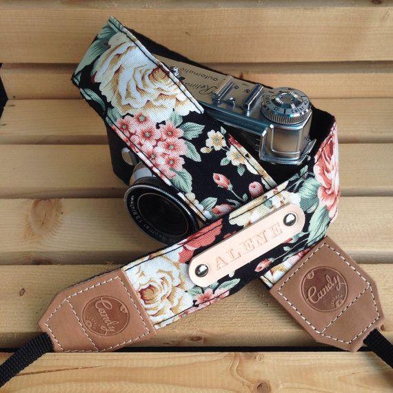 DSLR camera strap,Black Orange flower Camera Strap, leather camera Strap Gift for her