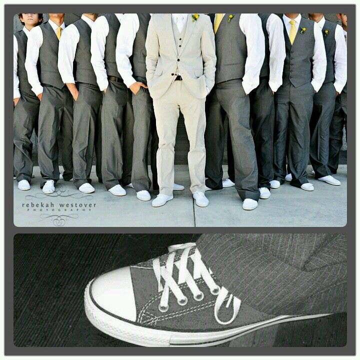 Mens Wedding Attire with grey chucks. This is going to be my Future hubbies and the guys. iLoveLoveLove it!